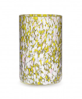 YELLOW, IVORY & PINK TALL VASE